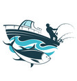 fisherman catches tuna on a boat vector image vector image