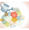 Floral background with watering can vector image