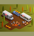 friendly camping isometric composition vector image vector image