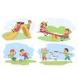 funny kids recreation summer scenes set vector image vector image