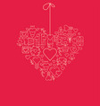 garland heart template sketch poster vector image vector image