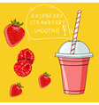 Glass with raspberry strawberry smoothie Natural vector image vector image