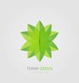 green natural leaf logo design vector image vector image
