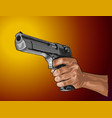 gun in hand - hand drawn isolated on color vector image