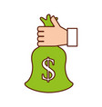 hand with bag money business finance vector image vector image
