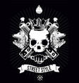 hip-hop poster with skull gangster rap vector image