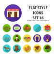 hippodrome and horse set icons in flat style big vector image vector image