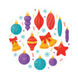isolated christmas tree decorations on white vector image