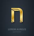 Letter N elegant gold font Template for company vector image vector image