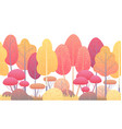 line horizontal seamless border with autumn trees vector image
