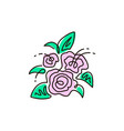 line icon bouquet of flowers top view vector image vector image