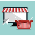 monitor pc e-commerce shop online design vector image vector image