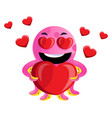 pink octopus in love on white background vector image vector image