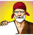 pop art senior man wearing red bandana vector image vector image