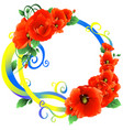 poppies with ribbon yellow blue vector image