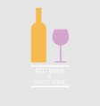 Red wine tasting card a bottle with glass vector image vector image