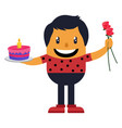 romantic man with cake and roses on white vector image vector image