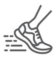 running fast line icon footwear and sport shoes vector image