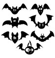 set bats for halloween collection black vector image