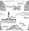 travel seamless pattern scotland background vector image