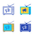 tv advertising icon set in flat and line style vector image vector image