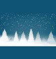 winter snowy woodland landscape with falling snow vector image vector image