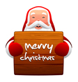 santa claus and wooden sign vector image