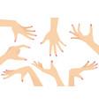 set of beautiful woman hands vector image