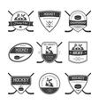 Set of ice hockey logos vector image