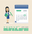 business woman and calendar planning and vector image
