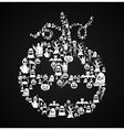 Happy Halloween pumpkin shape with elements EPS10 vector image