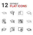 12 graduate icons vector image vector image