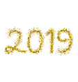 2019 golden particle text isolated on white vector image vector image
