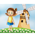 A young girl at the top of the hill with a vector image vector image