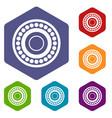 bearing icons set hexagon vector image vector image