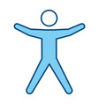 blue line pictogram man silhouette doing exercise vector image vector image