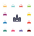 castle flat icons set vector image