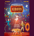 circus acrobats equilibrist and animal tamer vector image vector image