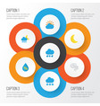 climate flat icons set collection of drop storm vector image vector image
