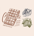 cocoa beans and chocolate bar vintage badge or vector image vector image
