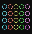 colorful neon ring set color glowing rings vector image vector image