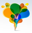 Creative splash pencil with colorful speech vector image