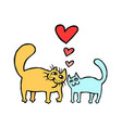 cute enamored cats isolated vector image