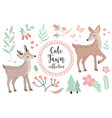 cute fawn character set objects collection of vector image vector image