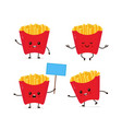 cute smiling happy funny cute french fries vector image vector image