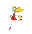doodle stickman concept glamor girl vector image
