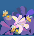 family bees fly to the flower where sleeps vector image