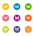 flap of butterfly icons set flat style vector image vector image