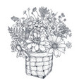 floral composition with black and white vector image