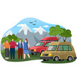 friends come trucks to mountains hikers or vector image vector image